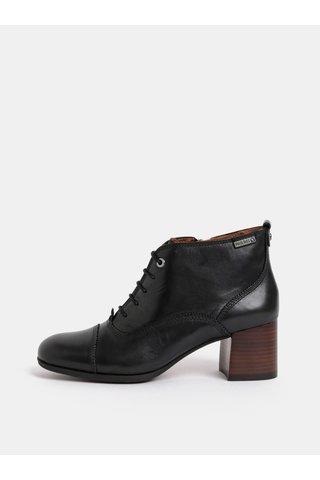 Černé kožené kotníkové boty na podpatku Pikolinos Black