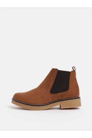 Hnědé chelsea boty v semišové úpravě OJJU