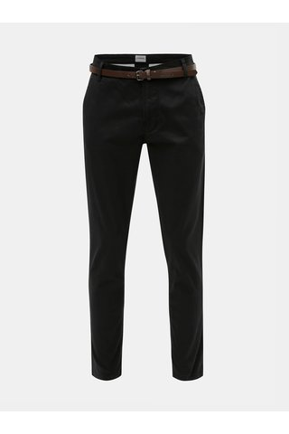 Pantaloni negri chino slim fit cu cordon Lindbergh