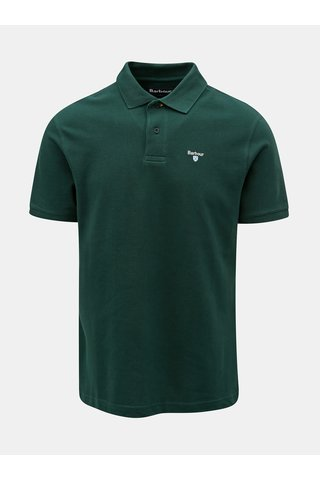Tricou polo verde inchis cu broderie discret Barbour Sports Polo