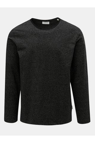 Tricou gri-negru melanj in dungi Lindbergh