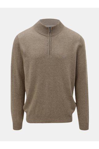 Pulover maro din lana merino cu amestec de casmir Fynch-Hatton