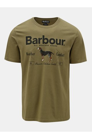 Tricou barbatesc kaki cu imprimeu Barbour Country