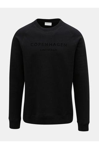 Bluza sport neagra cu text aspect de piele intoarsa Lindbergh