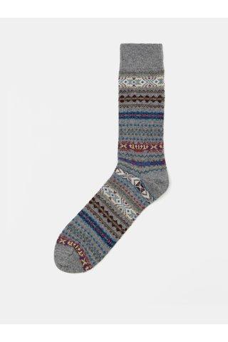 Sosete gri cu model din lana Barbour Boyd Sock