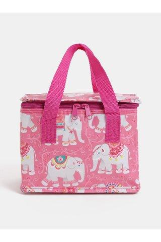 Geanta termoizolanta pentru alimente roz cu elefanti imprimeu Sass & Belle