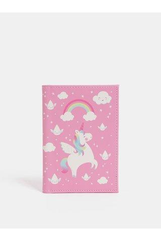 Portofel roz pentru pasaport cu unicorn imprimeu Sass & Belle