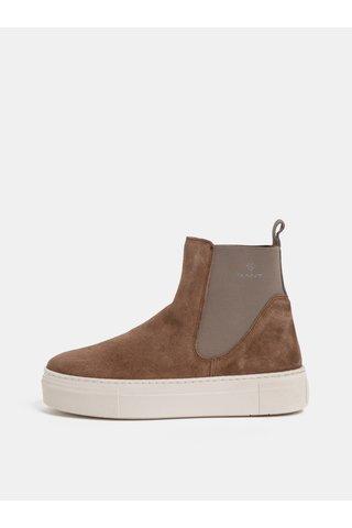 Hnědé dámské semišové chelsea boty na platformě GANT