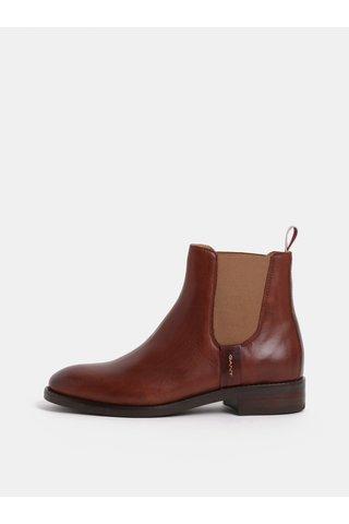 Hnědé dámské kožené chelsea boty GANT