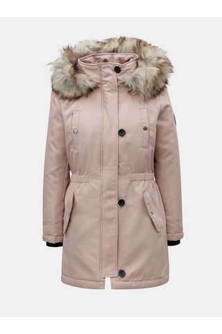 Geaca parka roz deschis de iarna cu blana artificiala ONLY Iris