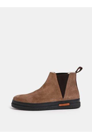 Hnědé pánské semišové zimní chelsea boty s vlněnou podšívkou GANT
