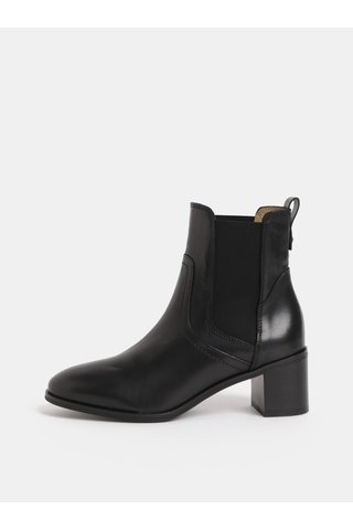 Černé dámské kožené chelsea boty na podpatku GANT