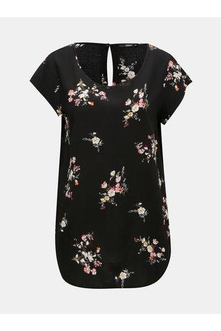 Tricou negru floral cu maneci scurte ONLY Nova