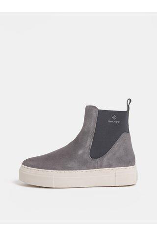 Šedé dámské semišové chelsea boty na platformě GANT