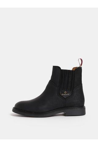 Černé dámské kožené zimní chelsea boty GANT Ashley