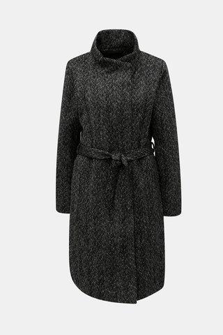 Pardesiu negru melanj cu amestec de lana ONLY Cindy