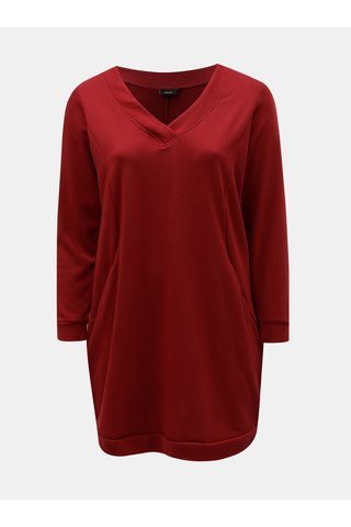 Červené mikinové šaty s dlouhým rukávem Zizzi Gunvur