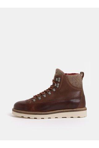 Hnědé pánské kožené kotníkové zimní boty GANT