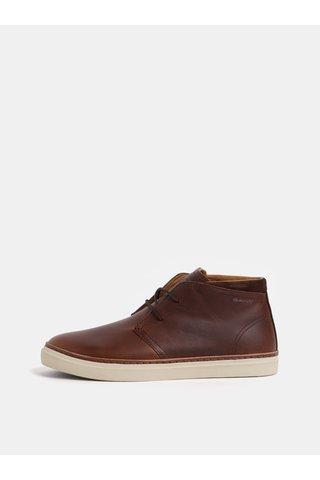 Hnědé pánské kožené kotníkové boty GANT