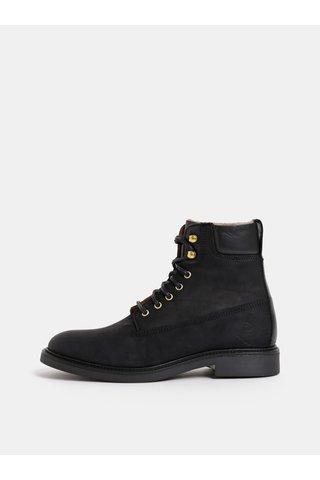 Černé dámské kožené kotníkové zimní boty GANT