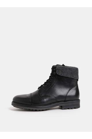 Černé pánské kožené kotníkové zimní boty GANT