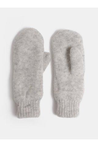 Manusi gri deschis cu un deget si amestec de lana Pieces Kimmie