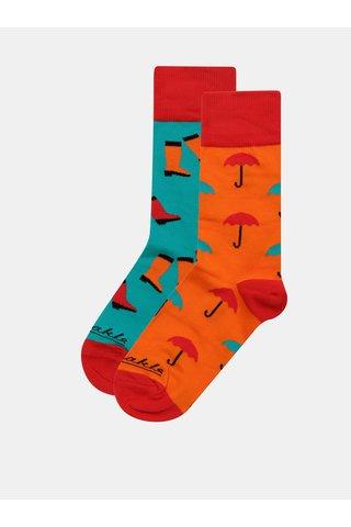 Oranžovo-modré unisex ponožky Fusakle Necas