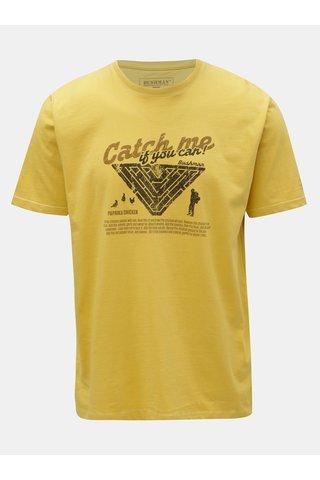 Tricou barbatesc galben cu imprimeu BUSHMAN Wing