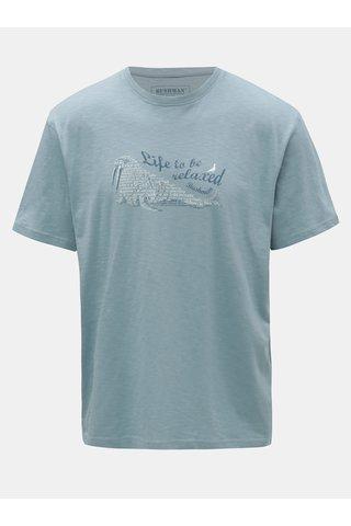Tricou barbatesc albastru deschis cu imprimeu BUSHMAN Croff