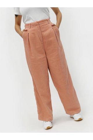 Pantaloni de dama roz lejer din material reiat cu talie inalta Kings of Indigo Maxima