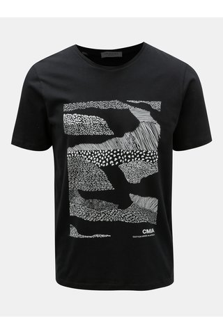 Tricou negru cu imprimeu Selected Homme