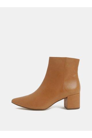 Světle hnědé kožené kotníkové boty na podpatku Högl