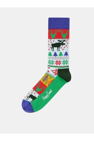 Zeleno-modré pánské ponožky s vánočním motivem Happy Socks Fair Isle