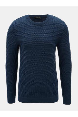 Pulover albastru inchis cu model Selected Homme