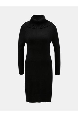 Rochie tricotata neagra cu guler inalt Yest