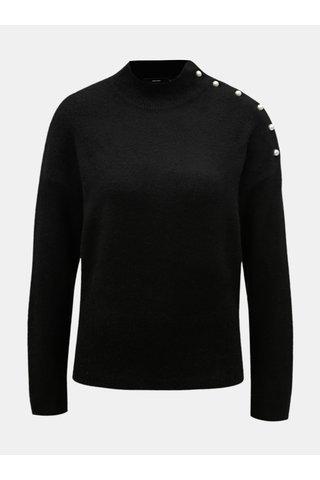 Pulover negru cu nasturi in forma de perle VERO MODA Lagoura