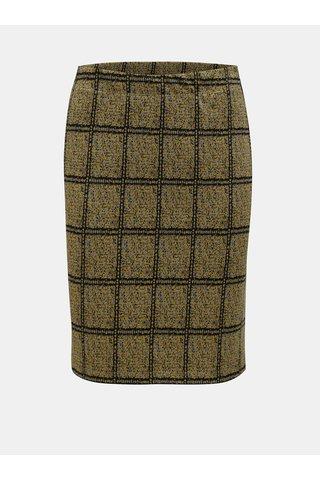 Černo-žlutá žíhaná sukně s kostkovaným vzorem Yest