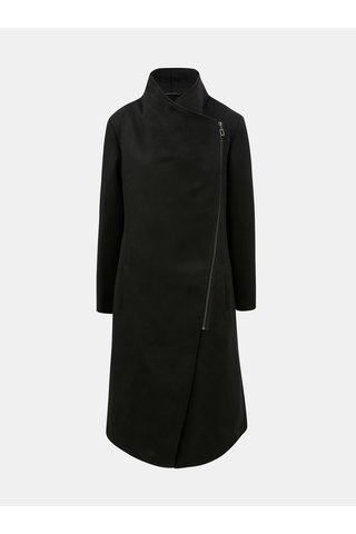 Černý kabát s asymetrickým zipem Yest