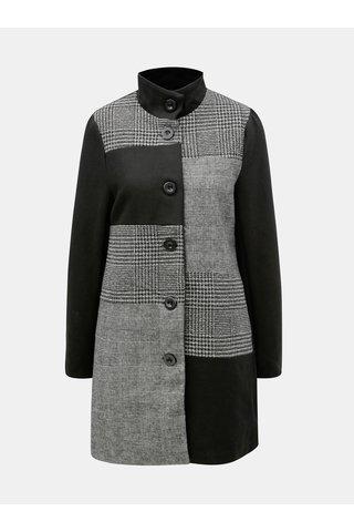 Pardesiu negru-gri cu model din lana Yest