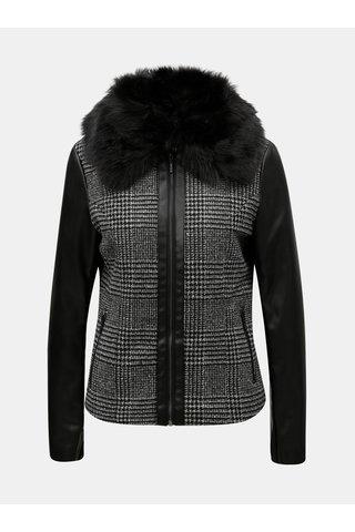 Jacheta gri-negru din piele sintetica cu model si blana artificiala detasabila Yest