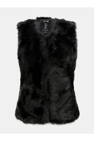 Černá vesta z umělého kožíšku Yest