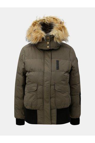 Jacheta de dama verde de iarna impermeabila cu blana artificiala Cars