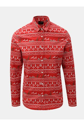 Camasa rosie slim fit cu motiv de Craciun ONLY & SONS Funny Christmas