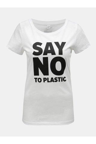 Tricou de dama alb cu imprimeu ZOOT Original Say no to plastic
