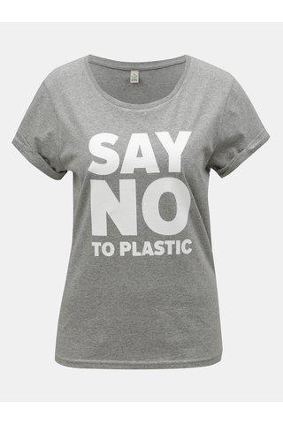 Tricou de dama gri melanj cu imprimeu ZOOT Original Say no to plastic