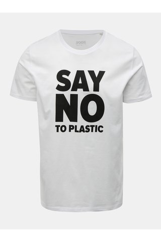 Tricou barbatesc alb cu imprimeu ZOOT Original Say no to plastic