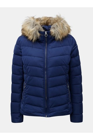 Jacheta albastra de iarna matlasata cu blana artificiala ONLY Ellan