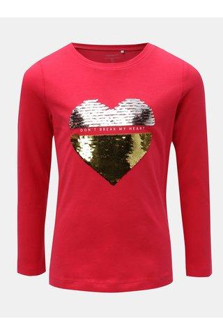 Tmavě růžové holčičí tričko s flitry Name it Rastar