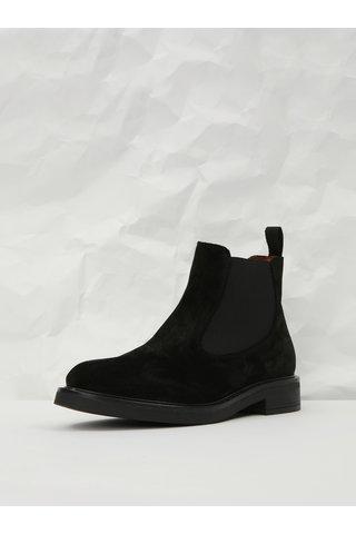 Černé semišové chelsea boty Frau Waxy