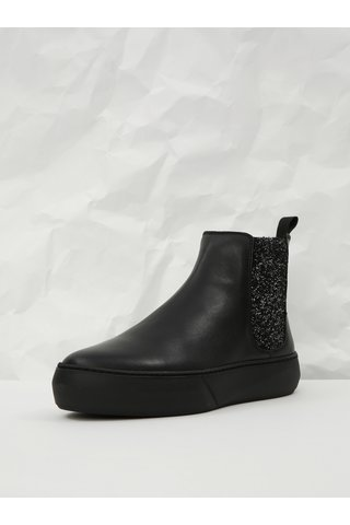 Černé kožené chelsea boty na platformě se třpytivým detailem Frau Tibet